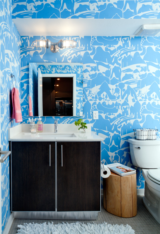 Industrial Wall Sconce Bathroom Eclectic with Bathroom Blue and White Patterned Wallpaper Blue