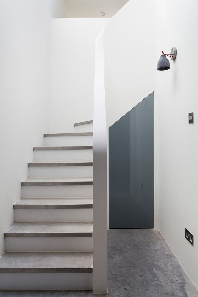 Industrial Wall Sconce Staircase Contemporary with Concrete Floor Concrete Stairs Design High Ceiling