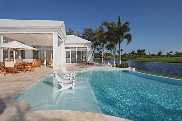 Infinity Massage Chair Pool Tropical with Adirondack Chair Backyard Beach Entry Covered Patio Disappearing Edge Pool