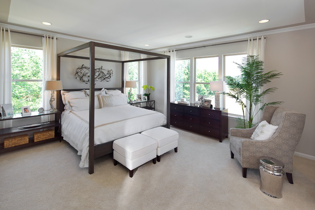 Initial Pillows Bedroom Contemporary with Armchair Beige Canopy Bed Carpeting Chrome Stool Curtain Panels