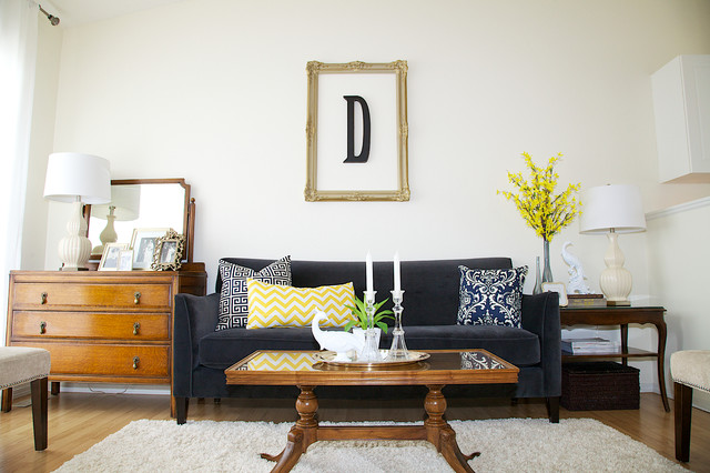 initial pillows Living Room Contemporary with blue pillows gilt frame glass top coffee table gray