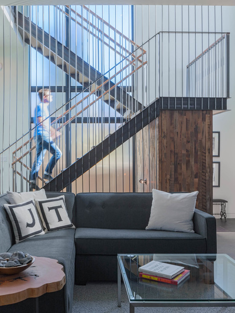Initial Pillows Staircase Industrial with Frosted Glass Glass Table Top Gray Couch Initial Pillows
