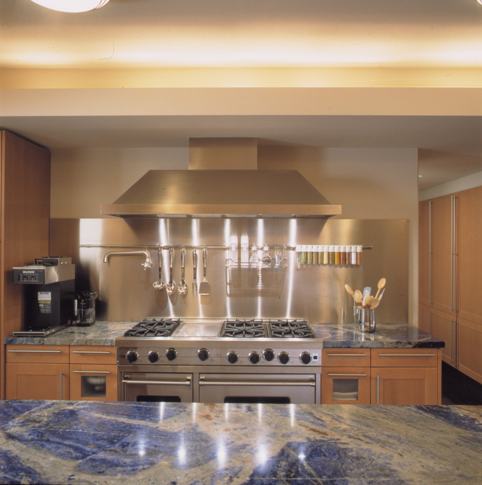 Installing Granite Countertops Kitchen Contemporary with Blue Marble Counter Gas Range Hood Shaker