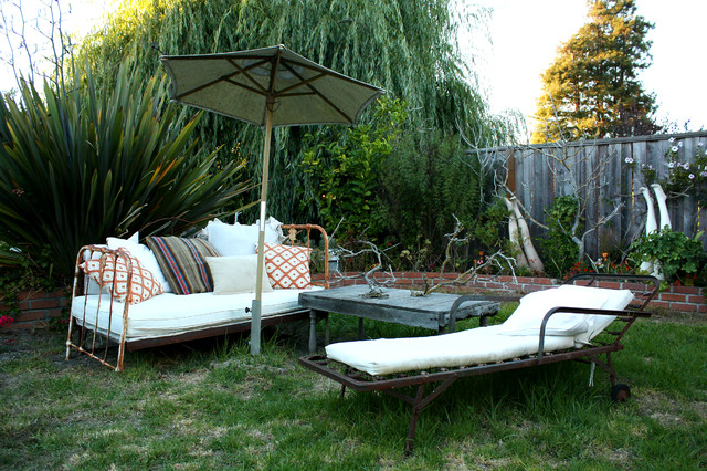 iron daybed Patio Eclectic with eclectic decor grass patio mannequin legs metal day bed