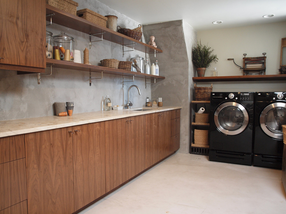 Iron Shelf Brackets Laundry Room Contemporary with Ceiling Lighting Concrete Walls Exposed Brackets Front