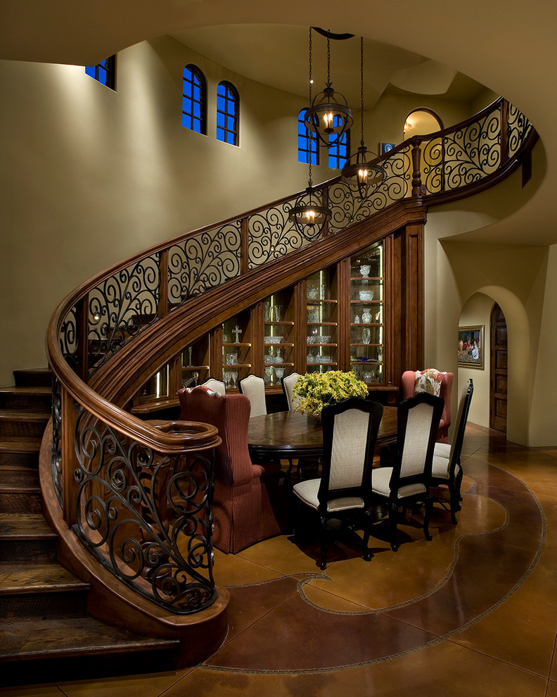 Iron Stair Railing Dining Room Traditional with Arch Arched Window Archway Beige Dining Chair