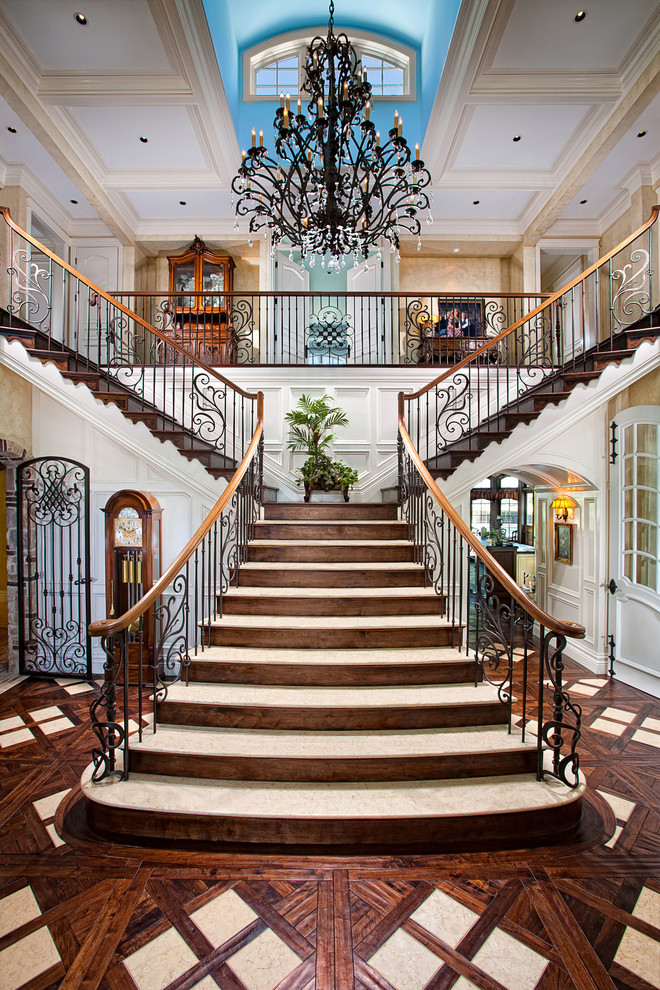 Iron Stair Railing Staircase Mediterranean with Beige Coffered Ceiling Beige Wall Bright Blue