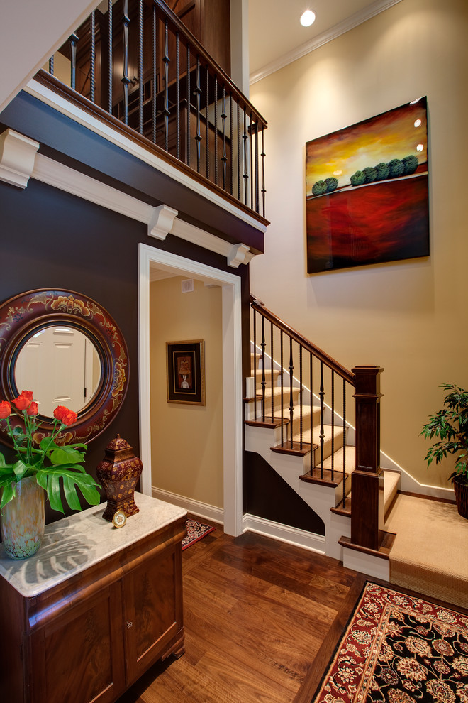 Iron Stair Railing Staircase Traditional with Beige Wall Black Patterned Rug Black Wall