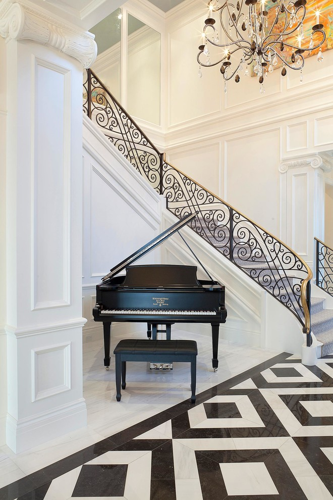 Iron Stair Railing Staircase Traditional with Black Marble Floor Black Piano Chandelier Grand