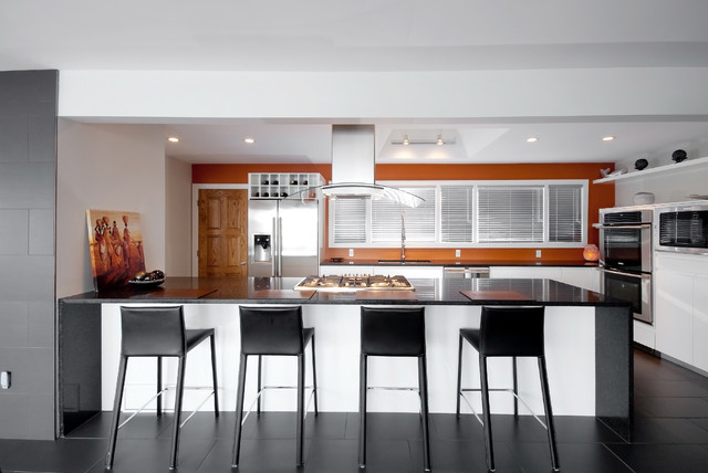 Island Vent Hood Kitchen Contemporary with Accent Wall Burnt Sienna Wall Ceiling Lighting Dark Floor