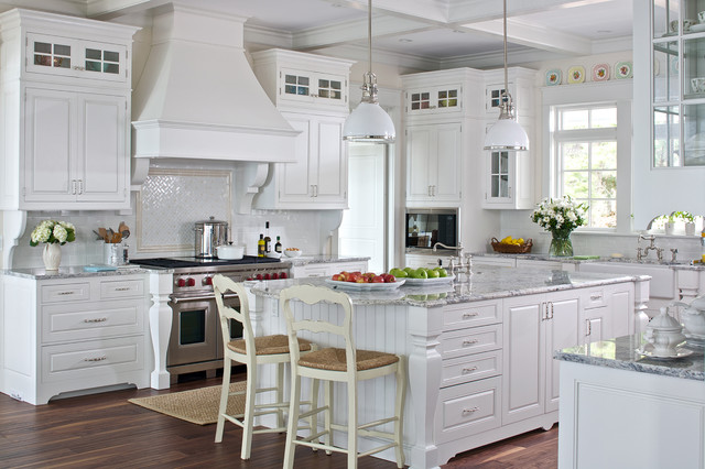 Island Vent Hood Kitchen Traditional with Coffered Ceiling Corbels Counter Stools Glass Front Upper Cabinets