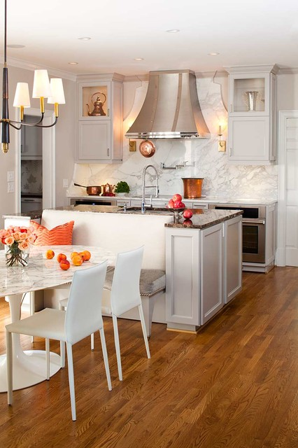 Island Vent Hood Kitchen Transitional with Banquette Breakfast Area Built in Bench Built in Cabinets Ceiling