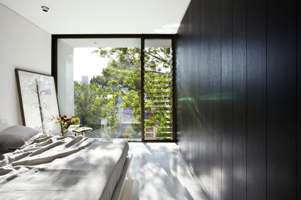 Jalousie Windows Bedroom Contemporary with Black Wall Black Wood Panelling Built In