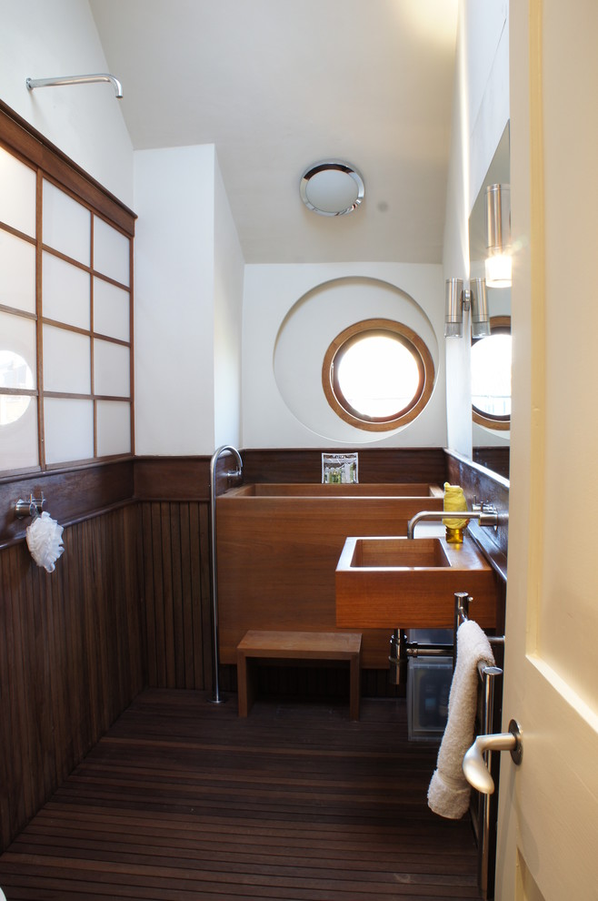 Japanese Soaking Tub Bathroom Eclectic with 18th Century Antique Furniture Antiques Asymmetrical Window