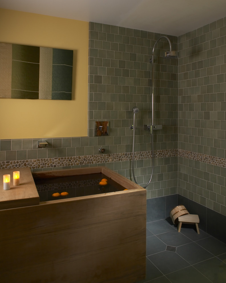 Japanese Soaking Tub Spaces Asian with Accent Tile Bathtub Decorative Tile Japanese Open