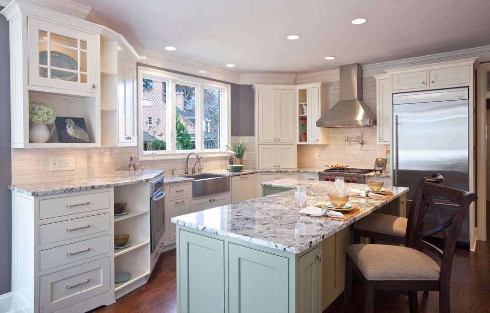 Jeffrey Alexander Hardware Kitchen Contemporary with Apron Sink Baseboards Ceiling Lighting Crown Molding