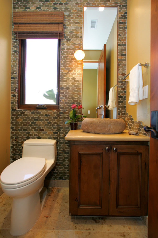 Jeffrey Court Tile Bathroom Contemporary with Brass Contemporary Dark Stained Wood Pendant Light