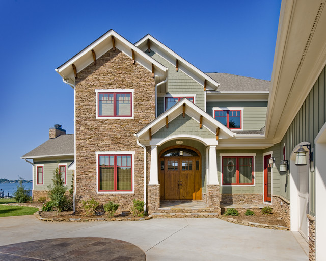 Jeld Wen Entry Doors Exterior Craftsman With Chimney Concrete Driveway  Corbels Covered Entry Craftsman Double Entry