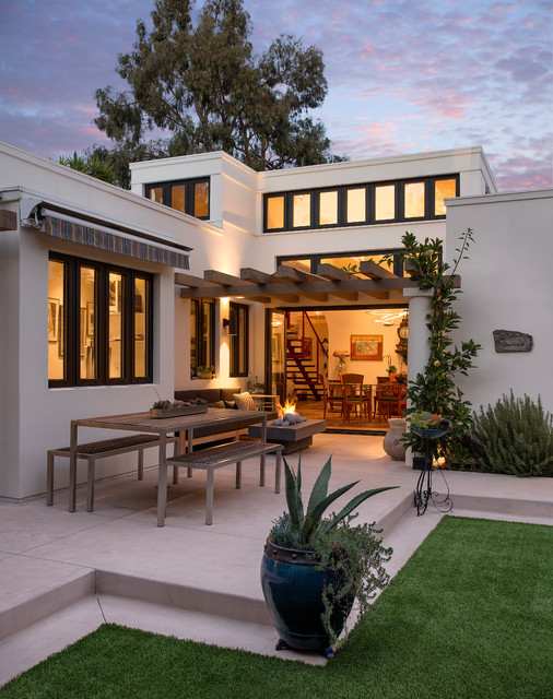 Jeld Wen Windows Patio Mediterranean with Awning Clerestory Windows Contemporary Design Fake Lawn Fire Feature