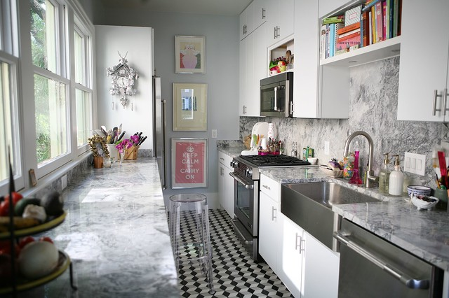 Jenn Air Downdraft Kitchen Contemporary with Black and White Tile Clear Bar Stool Galley Kitchen