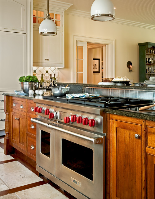 Jenn Air Downdraft Kitchen Traditional with Appliances Cabinetry Country Kitchen Floor Pattern Footed Cabinets Island