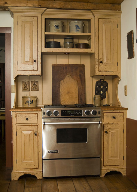 Jenn Air Gas Cooktop Kitchen Traditional with Built Ins Cutting Boards Distressed Wood Cabinets Open Shelves