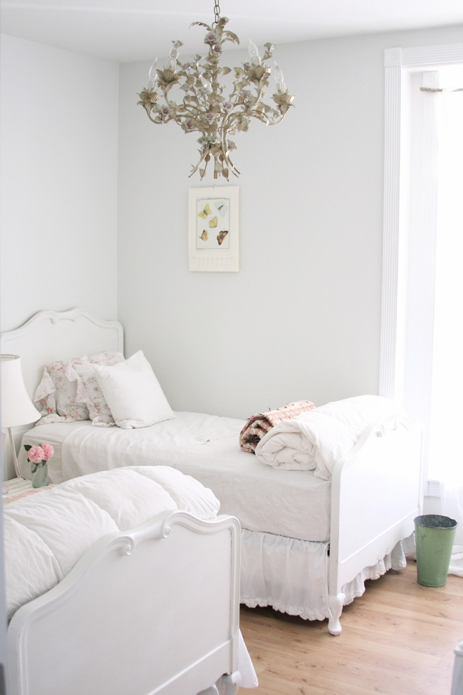Jenny Lind Twin Bed Bedroom Shabby Chic with Bedskirt Ceiling Lighting Chandelier Dust Ruffle Pendant