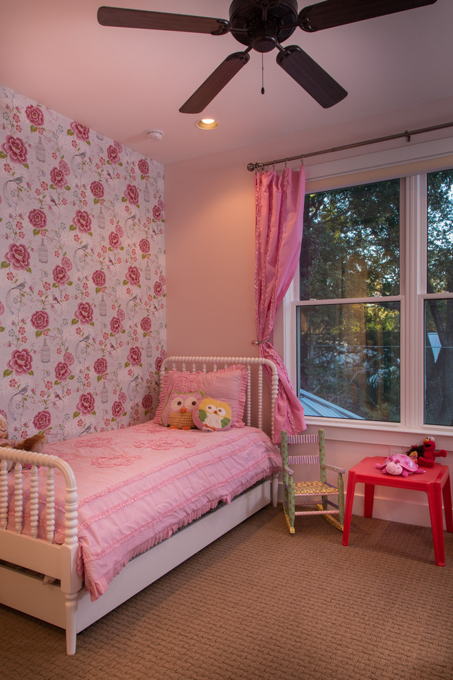 Jenny Lind Twin Bed Kids Eclectic with Accent Wall Bedroom Curtains Drapes Floral Wallpaper