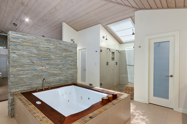 jetted bathtub Bathroom Contemporary with atlanta cabinet atlanta custom cabinet atlanta designer beige tile