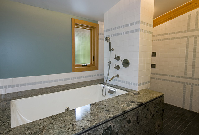 Jetted Bathtub Bathroom Contemporary with Blue Wall Exposed Beams Shower Fixtures Shower Tub Sloped