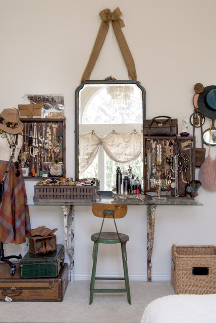 Jewelry Armoire Mirror Bedroom Shabby Chic with Dressing Table Glass Table Top Industrial Stool Jewelry Collection