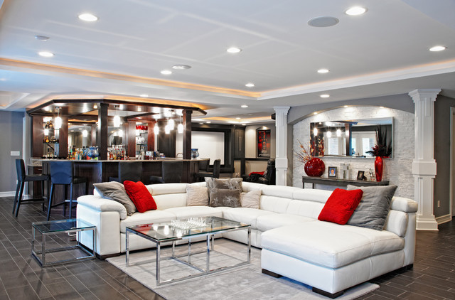 Jm Furniture Basement Contemporary with Area Rug Black Leather Counter Stools Cinema Seating Columns