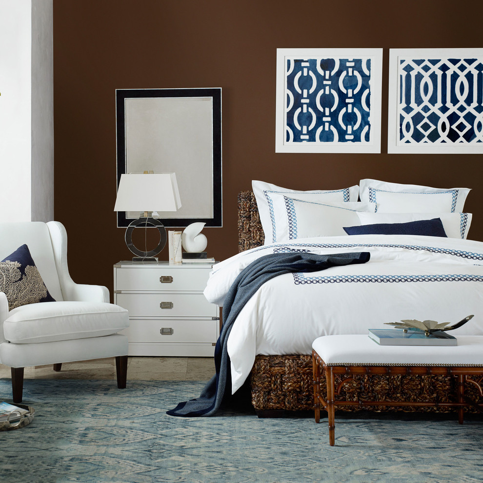 Jonathan adler bedding bedroom transitional with dark wood for Brown blue and white bedroom ideas