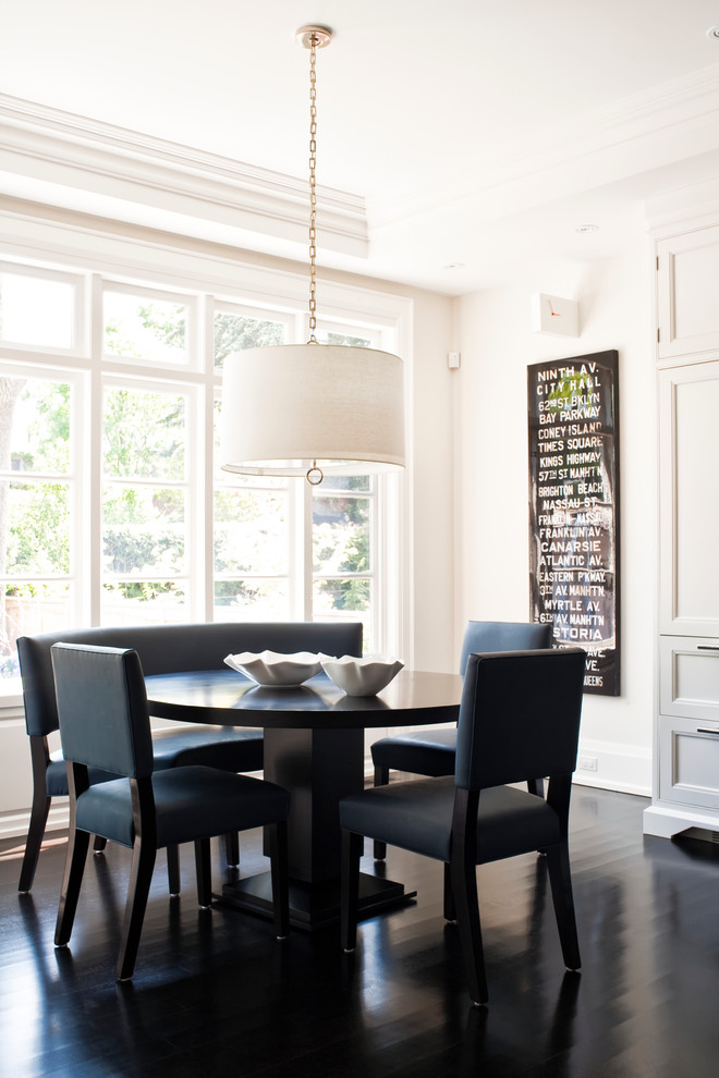 Jonathan Adler Bedding Dining Room Transitional with Artwork Beige Wall Black Banquette Black Booth