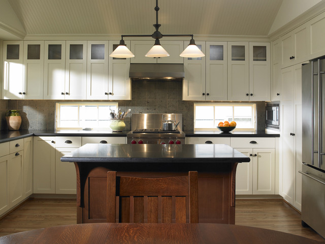 Jura Ena 9 Kitchen Traditional with Accent Ceiling Beadboard Ceiling Treatment Craftsman Style Custom Cabinet