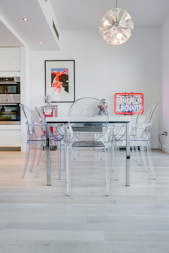 Kahrs Flooring Dining Room Contemporary with Bud Light Clear Chair Clear Dining Chairs