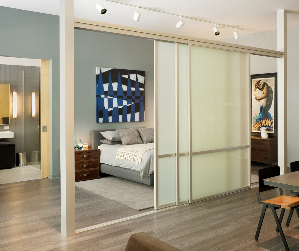 Kahrs Flooring Hall Modern with Accent Wall Frosted Glass Doors Graphic Artwork