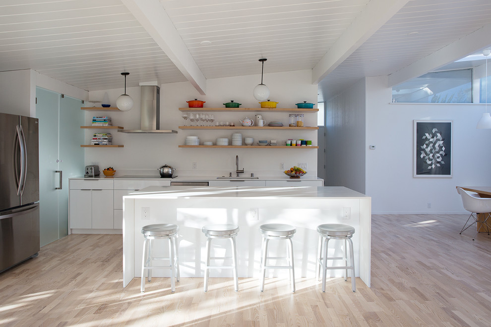 Kahrs Flooring Spaces Midcentury with Clean Lines Eichler Metal Counter Stools Mid Century