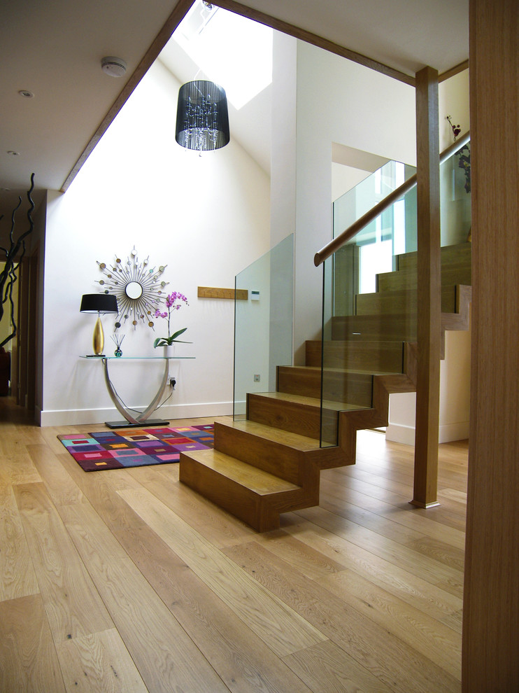 Kahrs Flooring Staircase Contemporary with 1930s Black Shade Chandelier Bold Colours Colorful
