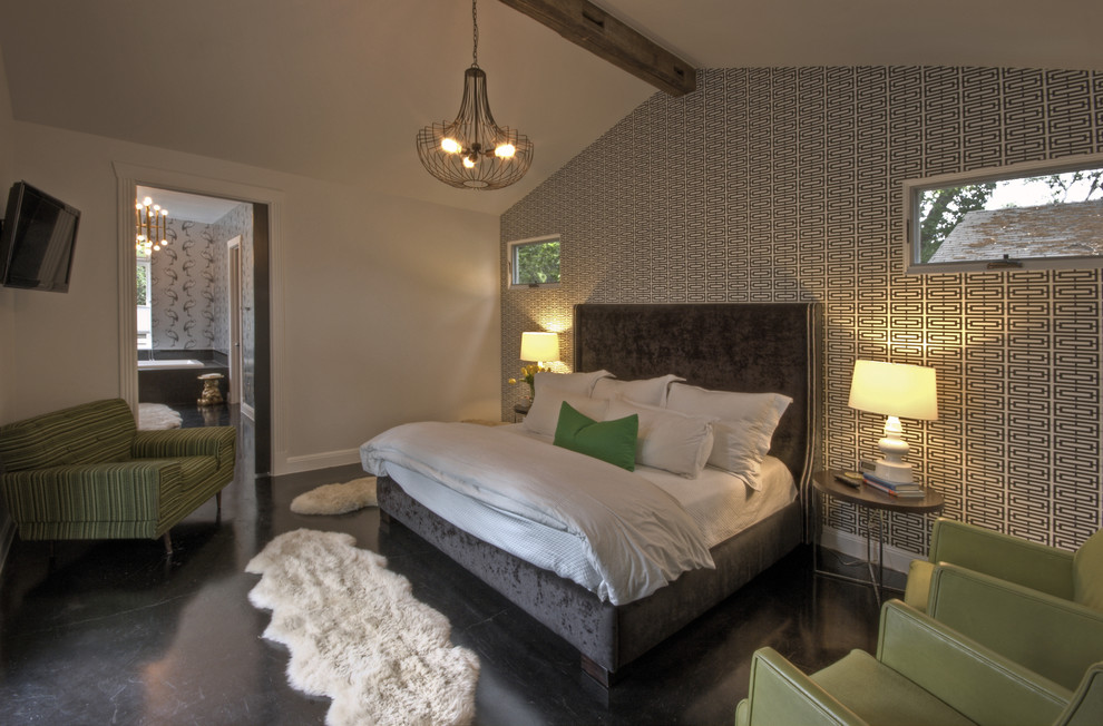 Kas Rugs Bedroom Transitional with Accent Wall Bedside Table Chandelier Exposed Beams
