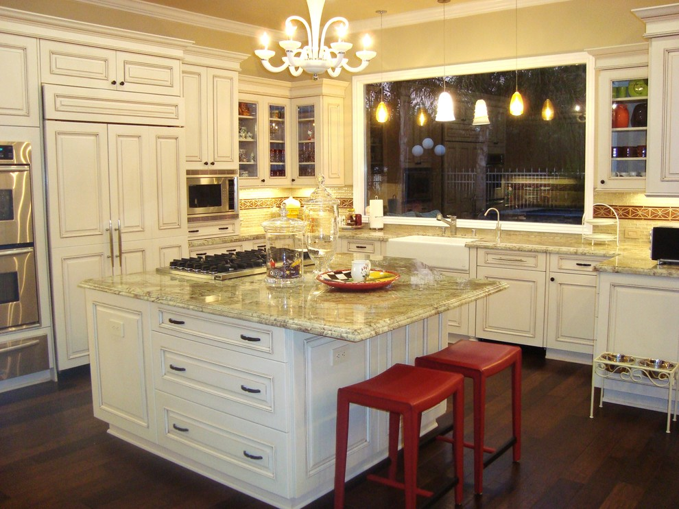 Kashmir Gold Granite Kitchen Traditional with Accent Tiles Apothecary Jars Apron Sink Bar