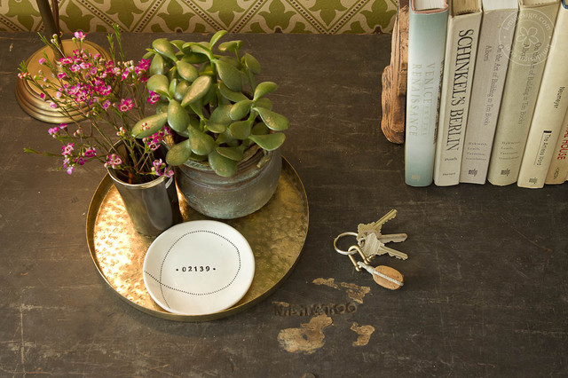 Kate Spade Dishes Living Room Modern with Bookends Books Gold Tray Plants Styling Succulents Vintage Table
