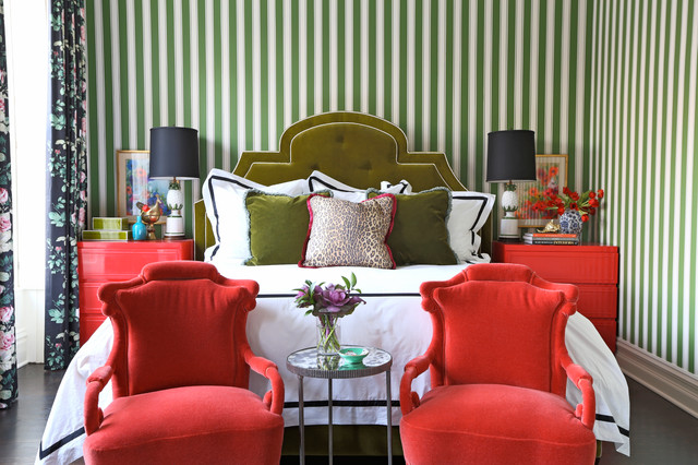 Kate Spade Journal Bedroom Eclectic with Chinese Chairs Chintz Coral Coral Chairs Green Headboard Green