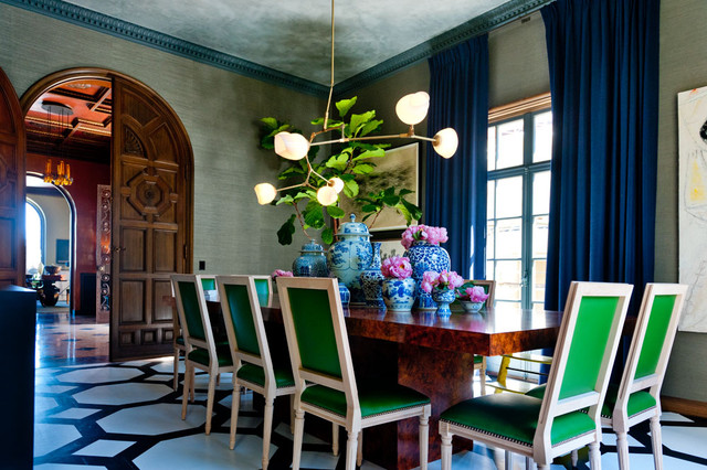 Kate Spade Journal Dining Room Contemporary with Arched Door Crown Molding Decorative Floor Dining Chairs Dining
