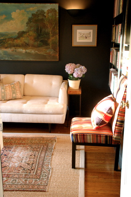 Kate Spade Journal Home Office Eclectic with Area Rug Bold Colors Bookcase Bookshelves Dark Walls Floral