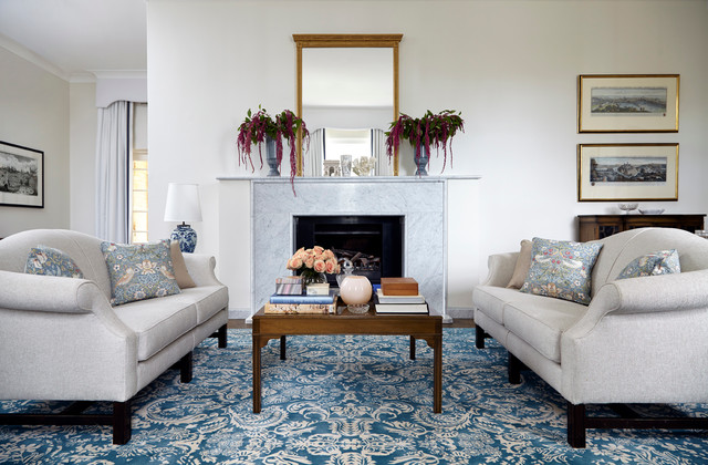 Kate Spade Journal Living Room Traditional with 1940s Apricot Asian Blue Blue and White Blue And