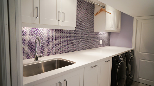 kenmore elite washer and dryer Laundry Room Contemporary with laundry room Laundry Solutions mosaic tile purple purple and