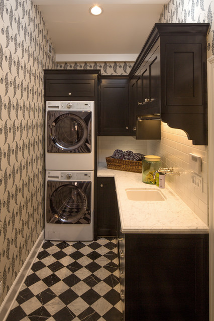 Kenmore Elite Washer and Dryer Laundry Room Traditional with Black and White Checker Floor Black Cabinets Built In