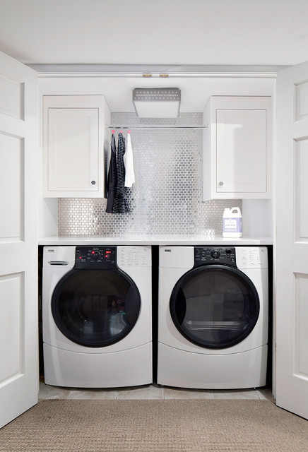 Kenmore Elite Washer and Dryer Laundry Room Transitional with Alcove Carpet Ceiling Light Front Loading Washer and Dryer