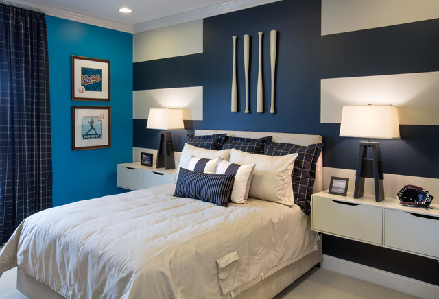 Kenroy Home Bedroom Transitional with Accent Wall Baseball Baseball Bats Bedroom Blue Blue And